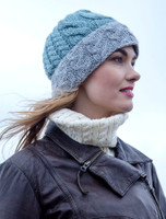 Aran Two-Tone Cable Hat - Misty/Grey