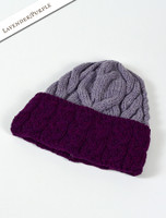 Aran Two-Tone Cable Hat - Lavender/Purple