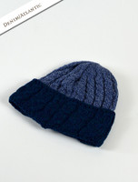 Aran Two-Tone Cable Hat - Denim/Atlantic