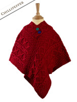 Kids Aran Poncho - Chillipepper