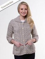 Cable Knit Button-Up Cardigan - Toasted Oat