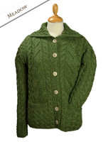Cable Knit Button-Up Cardigan - Meadow Green