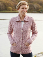 Cable Knit Button-Up Cardigan - Winter Rose