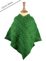 Kids Cable Knit Aran Poncho - Green Marl