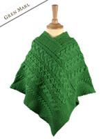 Kids Cable Knit Aran Poncho - Green Marl