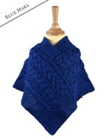 Kids Cable Knit Aran Poncho - Blue Marl