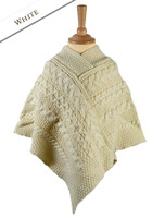 Kids Cable Knit Aran Poncho - White