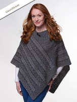 Plaited Aran Poncho with Button Detail - Grey/Derby
