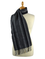 Narrow Lambswool Checked Scarf - Grey Stripe