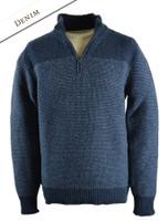 Wool Cashmere Half Zip Sweater with Stripe - Denim