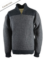 Wool Cashmere Half Zip Sweater with Stripe - Charcoal