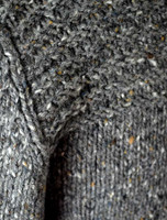 Wool Sweater with Ribbed Shoulders and Toggles