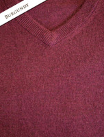 Mens Lambswool V-Neck Sweater - Burgundy