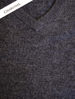 Mens Lambswool V-Neck Sweater - Charcoal