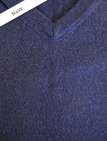 Mens Lambswool V-Neck Sweater - Navy