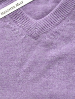 Mens Lambswool V-Neck Sweater - Heather Mist