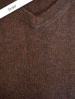 Mens Lambswool V-Neck Sweater - Turf