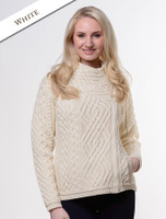 Cable Knit Jacket with Celtic Knot Side Zip - White