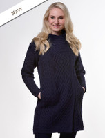 Cable Knit Coatigan with Celtic Knot Side Zip - Navy