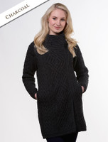 Cable Knit Coatigan with Celtic Knot Side Zip - Charcoal