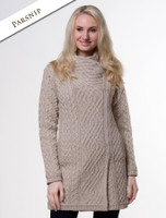 Cable Knit Coatigan with Celtic Knot Side Zip - Parsnip