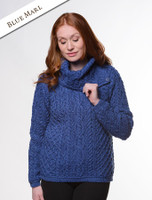 Cowl Button Neck Aran Sweater - Blue Marl