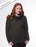 Cowl Button Neck Aran Sweater - Army