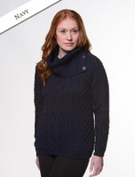 Cowl Button Neck Aran Sweater - Navy