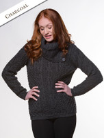 Cowl Button Neck Aran Sweater - Charcoal