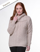 Cowl Button Neck Aran Sweater - Parsnip