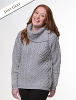 Cowl Button Neck Aran Sweater - Soft Grey