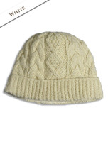 Aran Fleece Lined Rib Cap - White