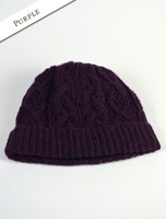 Aran Fleece Lined Rib Cap - Purple