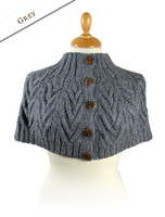 Premium Handknit Capelet with Buttons - Grey