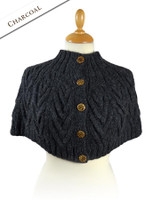 Premium Handknit Capelet with Buttons - Charcoal