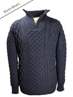 Heavyweight Merino Wool Aran Troyer - Navy Marl