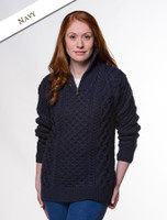 Womens Heavyweight Merino Wool Aran Troyer - Navy