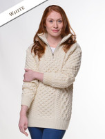 Womens Heavyweight Merino Wool Aran Troyer - White