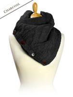 Handknit Fleece Lined Neckwarmer - Charcoal