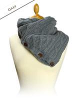 Handknit Fleece Lined Neckwarmer - Grey
