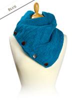 Handknit Fleece Lined Neckwarmer - Blue