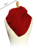 Handknit Fleece Lined Neckwarmer - Red