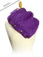 Handknit Fleece Lined Neckwarmer - Purple