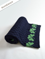 Merino Shamrock Throw - Navy/Green