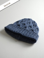 Merino Wool Cable Knit Hat - Denim