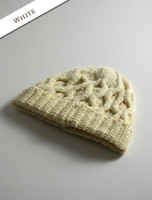 Merino Wool Cable Knit Hat - Natural White