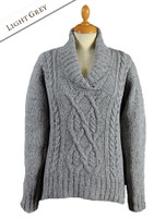 Wool Cashmere Aran Shawl Neck Sweater - Light Grey