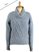 Wool Cashmere Aran Shawl Neck Sweater - Sky Blue