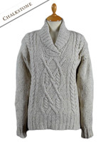 Wool Cashmere Aran Shawl Neck Sweater - Chalkstone