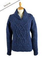 Wool Cashmere Aran Shawl Neck Sweater - Denim